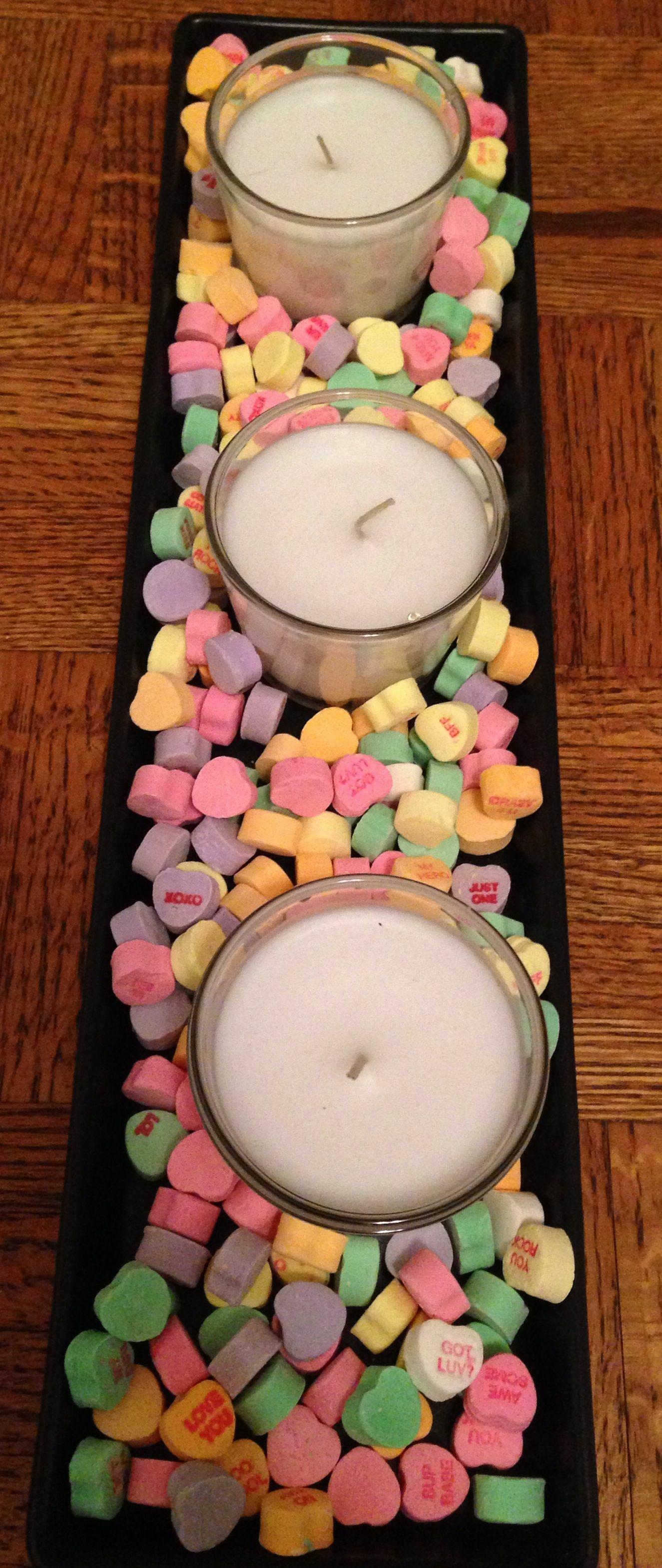 Gyertya cukorkákkal - Valentin nap