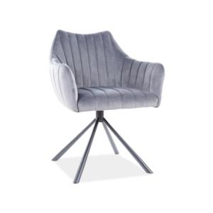 Agava Velvet étkező szék fekete láb/ szürke bluvel 14