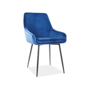 Albi Velvet étkező szék fekete láb/ kék tap.91