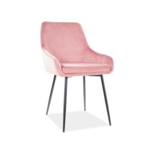 Albi Velvet étkező szék fekete láb/ antik rózsaszín tap.92