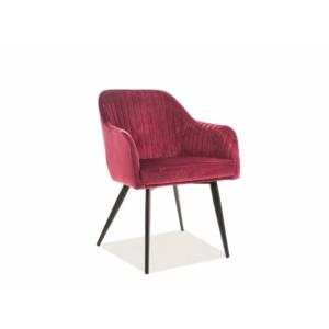 Elina Velvet étkező szék fekete láb/ bordó TAP. 149