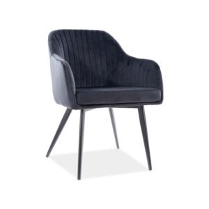 Elina Velvet étkező szék fekete láb/ fekete tap. 117