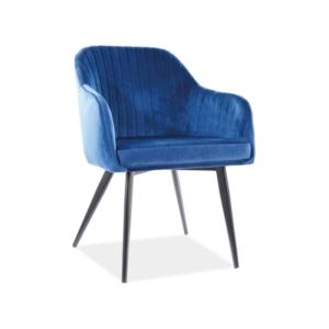 Elina Velvet étkező szék fekete láb/ kék tap. 91