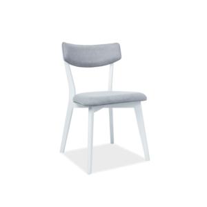 Karl étkező szék  szürke szövet/fehér fa lábazat (TAP.136)