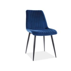Kim Velvet étkező szék fekete láb/ kék bluvel 86