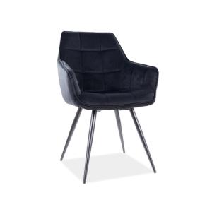 Lilia Velvet étkező szék fekete láb/ fekete bluvel 19