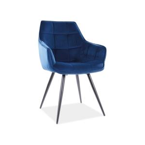 Lilia Velvet étkező szék fekete láb/ kék bluvel 86