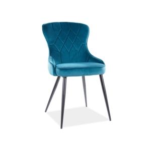 Lotus Velvet étkező szék fekete láb/ türkiz bluvel 85