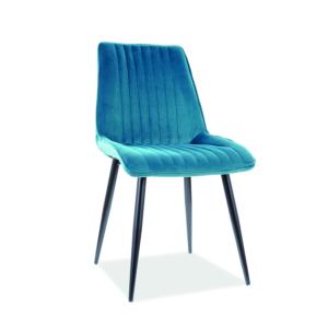 Kim Velvet étkező szék fekete láb/ türkiz bluvel 85