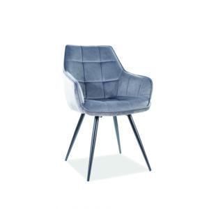 Lilia Velvet étkező szék fekete láb/ szürke bluvel 14