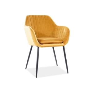 Wenus Velvet étkező szék fekete láb/ sárga bluvel 68