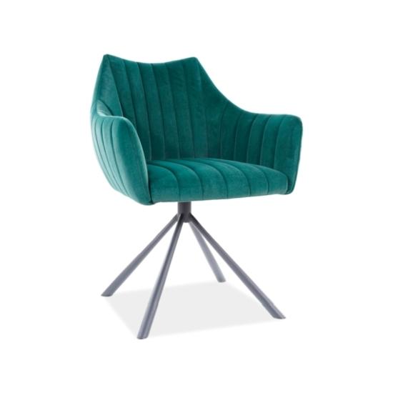 Agava Velvet étkező szék fekete láb/ zöld bluvel 78