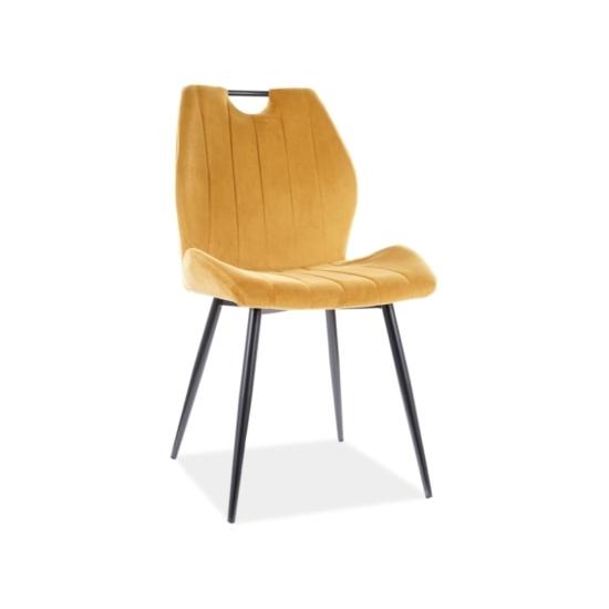 Arco Velvet étkező szék fekete láb/ sárga bluvel 68