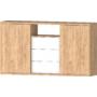 Kép 3/6 - DEL-Idill J3 tolóajtós komód gold craft tölgy fényes fehér
