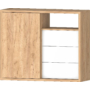 Kép 3/6 - DEL-Idill J4 tolóajtós fiókos komód gold craft tölgy fényes fehér